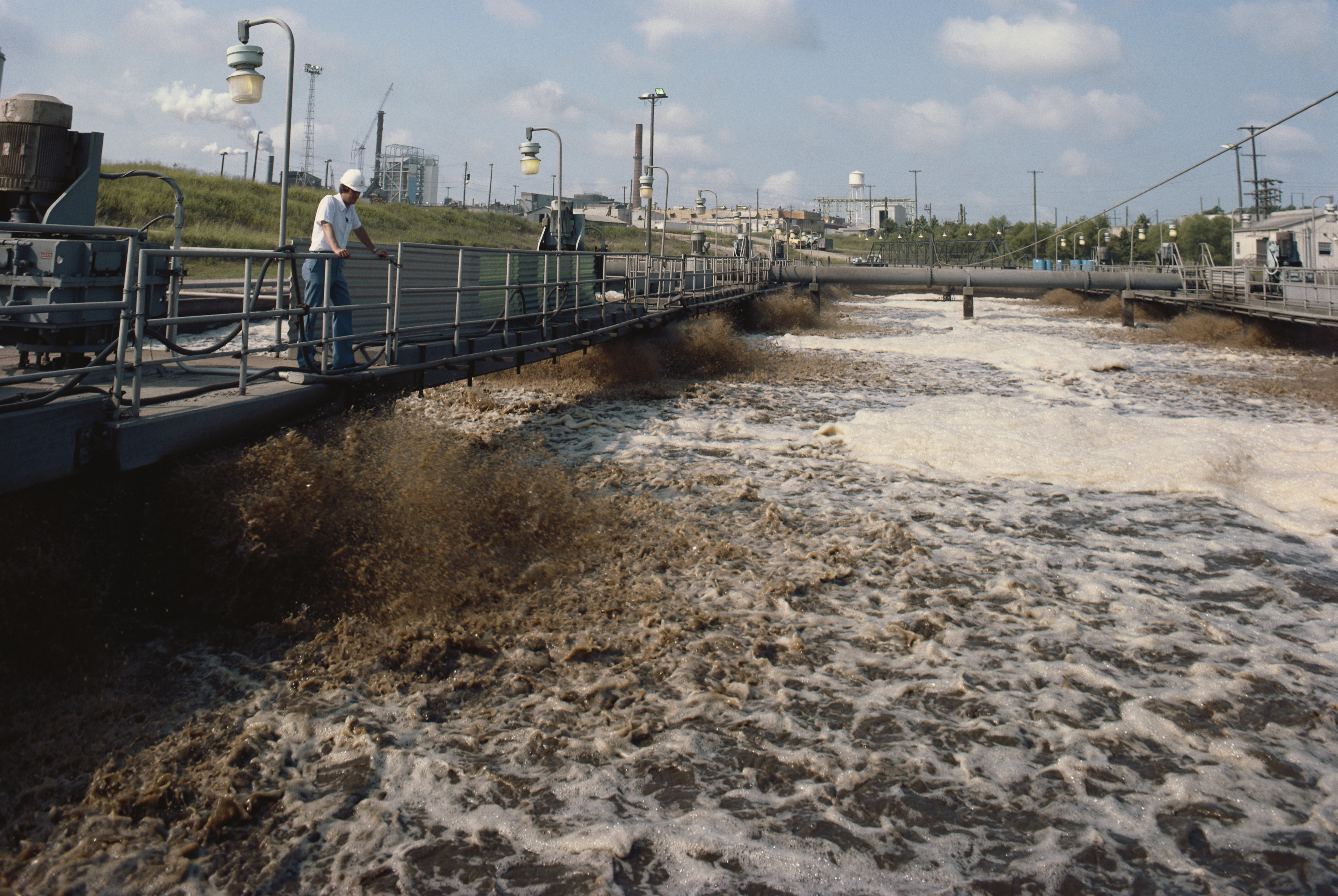 Aerators at a Texas paper mill clarify waste water.