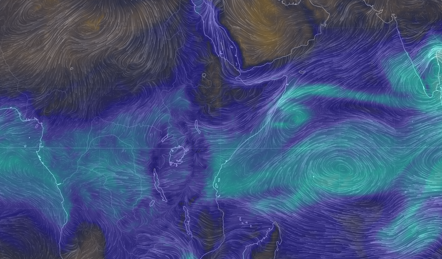 © earth.nullschool.net: Winds over East Africa (at 850hPa) with contours of total precipitable water, forecast for Monday 16 November at 15.00 UTC. The REACH programme includes observatories in Kenya and Ethiopia.