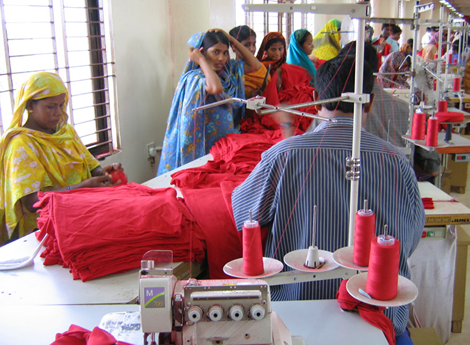 Inside a garments factory in Dhaka, Bangladesh © jankie