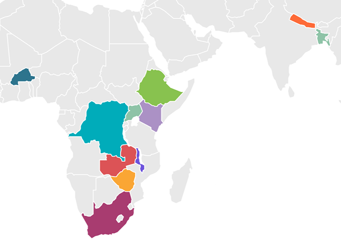 The Catalyst Projects focus on eleven countries across Africa and South Asia.