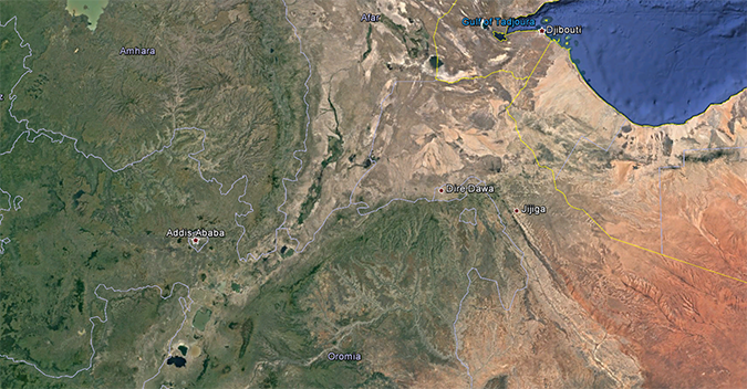 Satellite view of Ethiopia