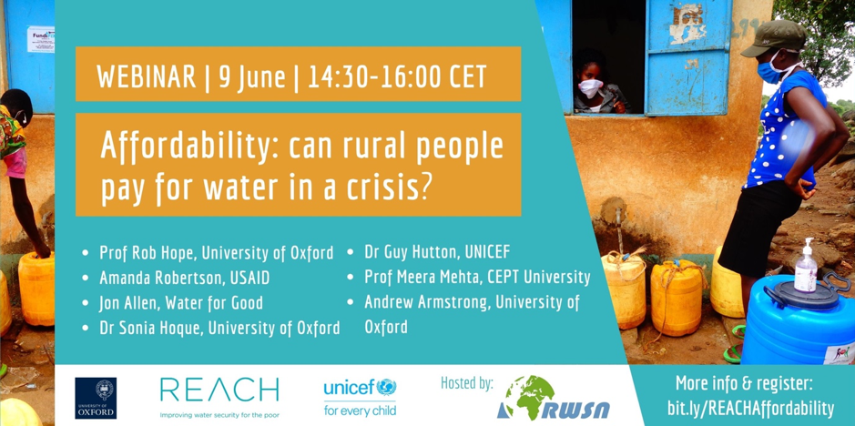 On 9 June 2020 REACH is hosting a webinar on water affordability