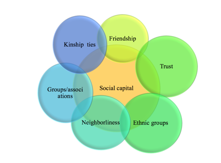 This figure shows the different attributes of social capital - social capital being represented in a circle in a middle with the following attributes surrounding it: Kinship ties, Friendship, Trust, Ethnic groups, Neighborliness, Groups/associations.