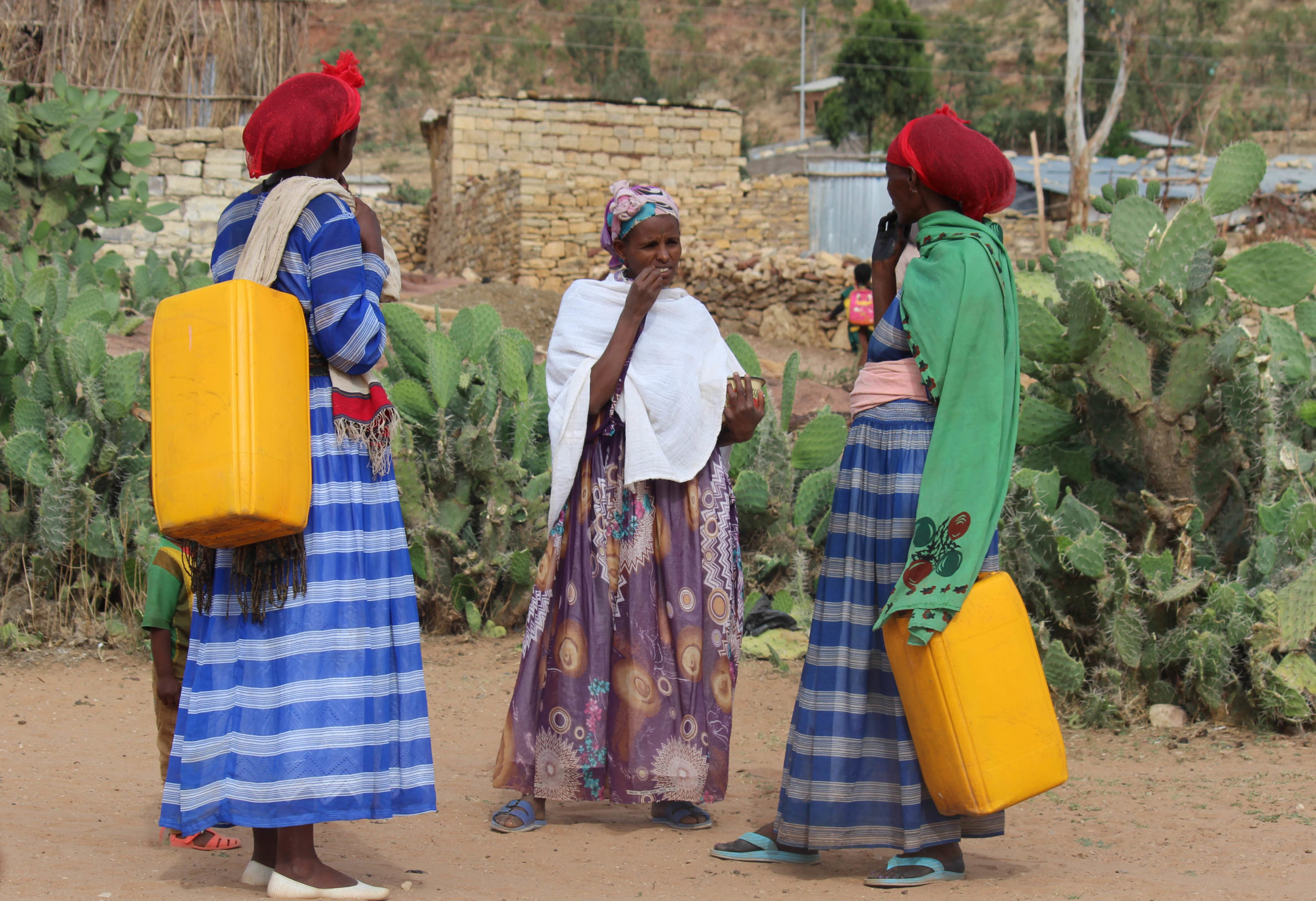 Women talking while carrying water jerrycans, on the outskirt of Wukro, Ethiopia (Credit: Marina Korzenevica)