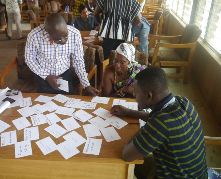 Stakeholders in Asutifi North district, Ghana, organizing brainstormed concepts related to empowerment and WASH (Sarah Dickin)