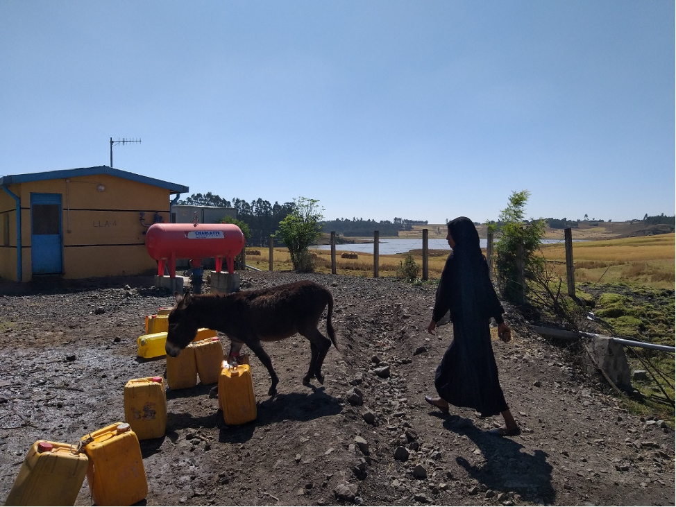This image was taken at Legedadi, where both surface and groundwater supply Addis Ababa city. The surface water observable on the right is the tail of Legedadi reservoir (a major surface water reservoir to Addis Ababa). A deep groundwater point can be found where the house is located. Credit: Behailu Birhanu